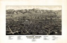 Colorado Springs 1882c Bird's Eye View 24x37, Colorado Springs 1882c Bird's Eye View